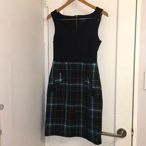 Kensie Midi Black and Plaid Dress. Size Small.